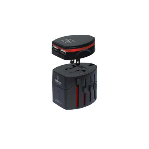 SKROSS World Travel Adapter 2 and USB Charger Black