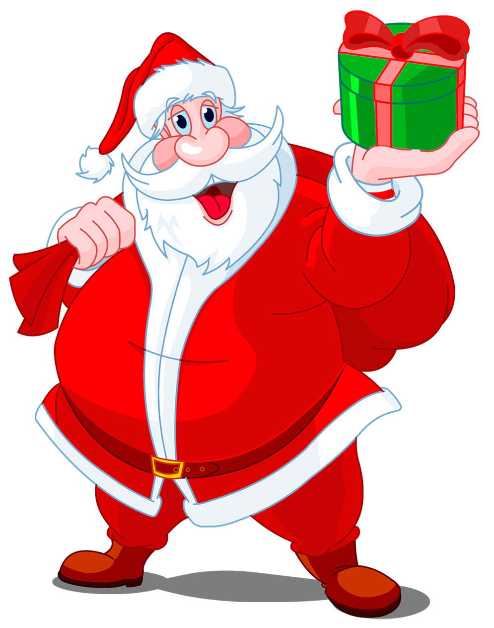 Transparent_Santa_Claus_with_Green_Gift_PNG_Clipart