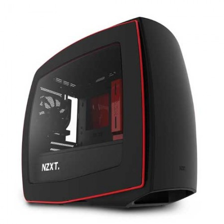 NZXT Manta Matte Black + Red Mini ITX Gaming PC Case CA-MANTW-M2