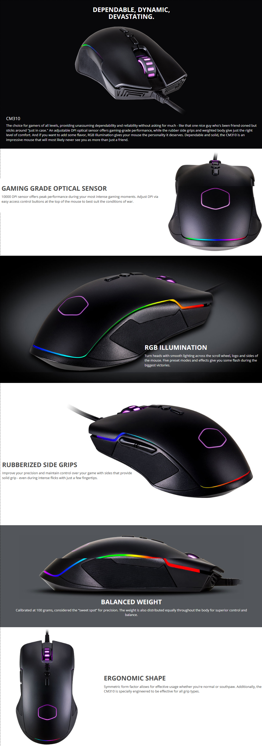 2fbcb6b3cdd Buy Online COOLER MASTER CM310 Ergonomic Wired Gaming Mouse CM-310 ...