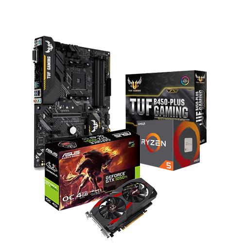 AMD RYZEN 5 2600 Processor ASUS TUF B450-PLUS GAMING Motherboard ASUS GTX  1050 Ti CERBERUS-GTX1050TI-O4G 4GB Graphic Card