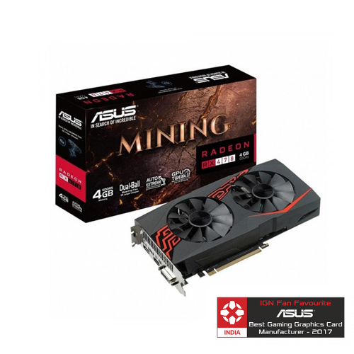 ASUS Mining RX 470 is designed for coin mining Graphic Card  MINING-RX470-4G-LED-S